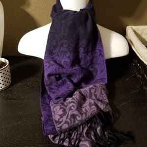 Cashmink Purple Ombre Baroque Design Fringe Scarf